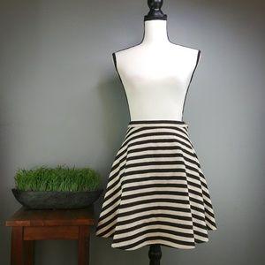 Anthro Greylin | Black & Cream Striped Flare Skirt